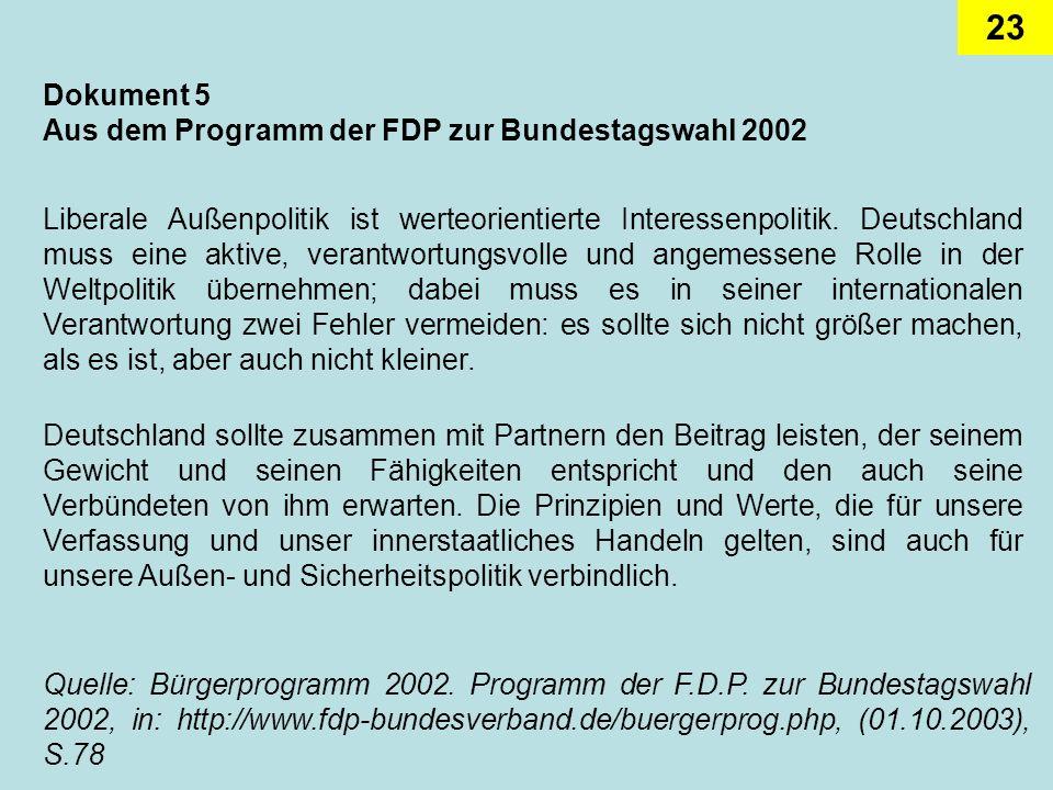 Dokument 5 Aus dem Programm der FDP zur Bundestagswahl 2002.