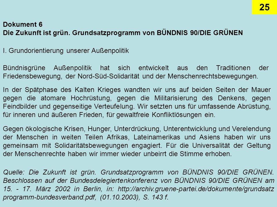 Dokument 6Die Zukunft ist grün. Grundsatzprogramm von BÜNDNIS 90/DIE GRÜNEN. I. Grundorientierung unserer Außenpolitik.