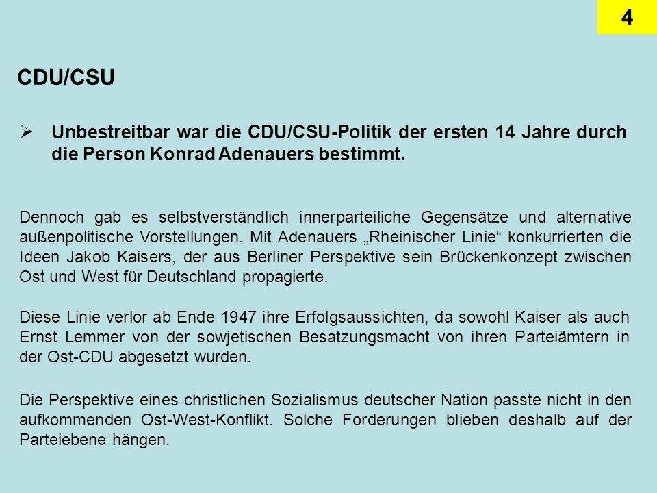 CDU/CSU Unbestreitbar war die CDU/CSU-Politik der ersten 14 Jahre durch die Person Konrad Adenauers bestimmt.