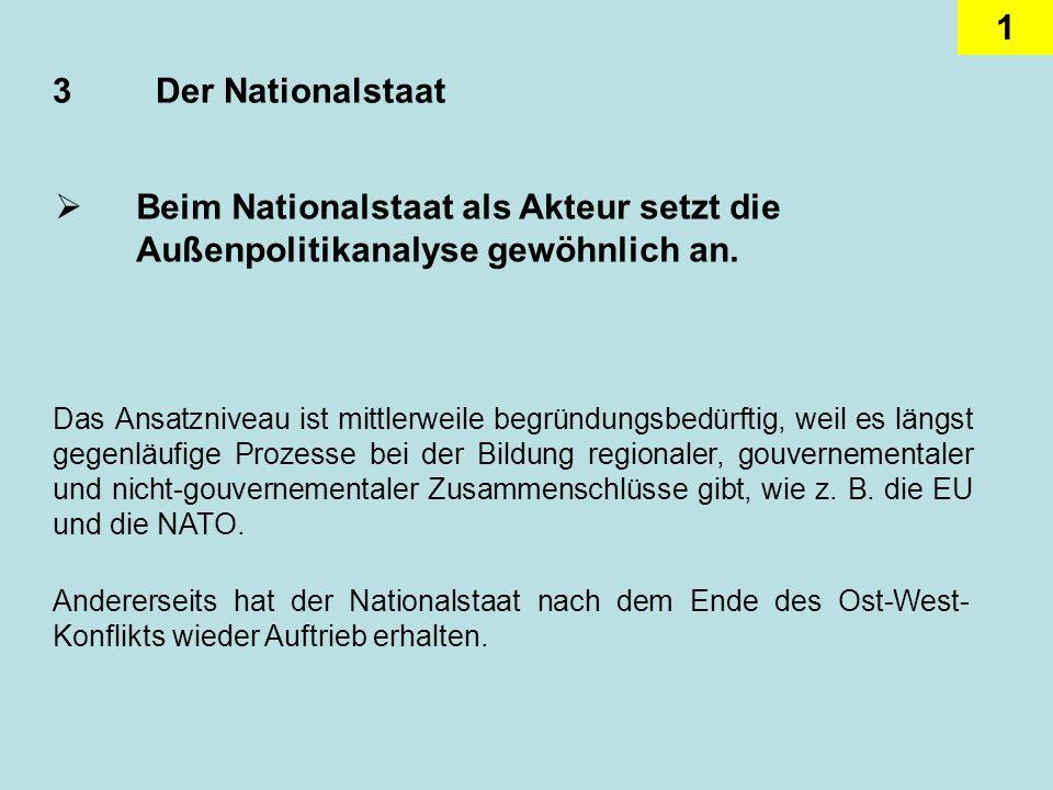 3 Der Nationalstaat Beim Nationalstaat als Akteur setzt die Außenpolitikanalyse gewöhnlich an.