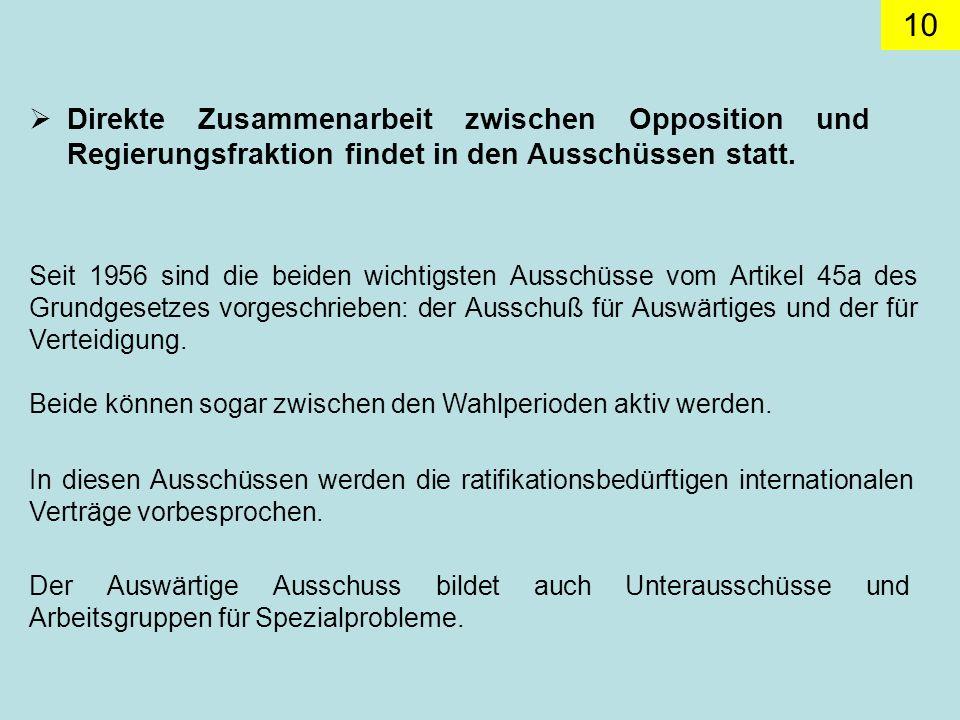 Direkte Zusammenarbeit zwischen Opposition und Regierungsfraktion findet in den Ausschüssen statt.
