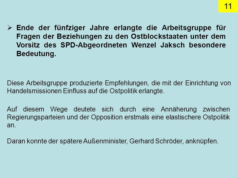 Ende der fünfziger Jahre erlangte die Arbeitsgruppe für Fragen der Beziehungen zu den Ostblockstaaten unter dem Vorsitz des SPD-Abgeordneten Wenzel Jaksch besondere Bedeutung.