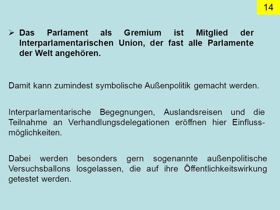 Das Parlament als Gremium ist Mitglied der Interparlamentarischen Union, der fast alle Parlamente der Welt angehören.