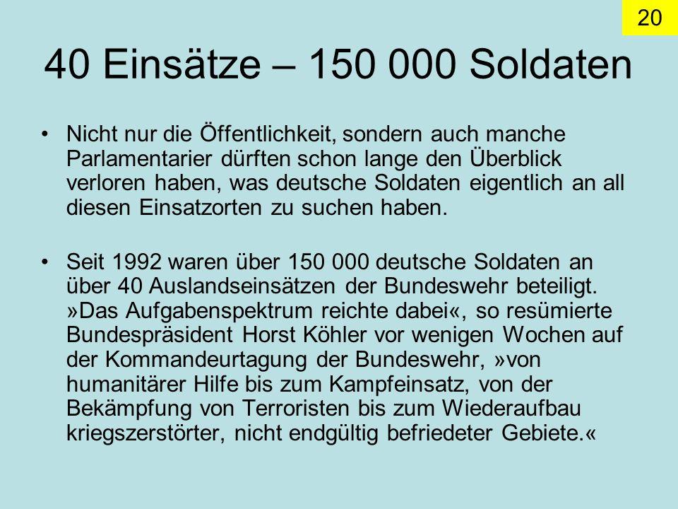 40 Einsätze – 150 000 Soldaten