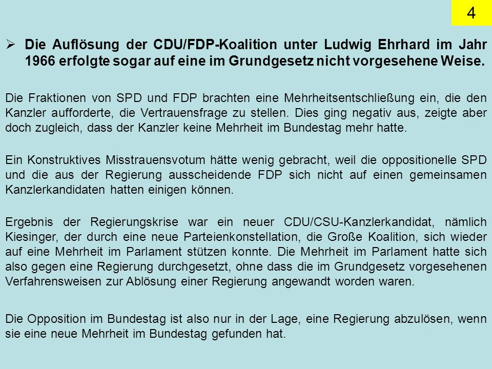Die Auflösung der CDU/FDP-Koalition unter Ludwig Ehrhard im Jahr 1966 erfolgte sogar auf eine im Grundgesetz nicht vorgesehene Weise.