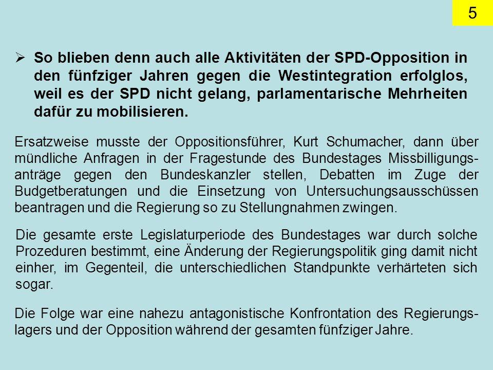 So blieben denn auch alle Aktivitäten der SPD-Opposition in den fünfziger Jahren gegen die Westintegration erfolglos, weil es der SPD nicht gelang, parlamentarische Mehrheiten dafür zu mobilisieren.
