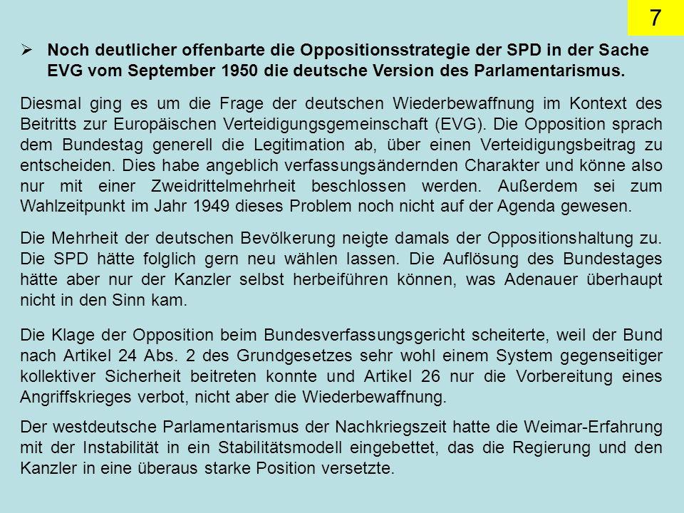 Noch deutlicher offenbarte die Oppositionsstrategie der SPD in der Sache EVG vom September 1950 die deutsche Version des Parlamentarismus.