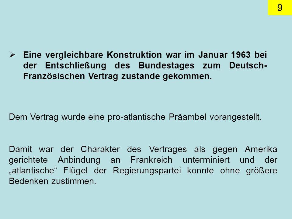 Eine vergleichbare Konstruktion war im Januar 1963 bei der Entschließung des Bundestages zum Deutsch-Französischen Vertrag zustande gekommen.