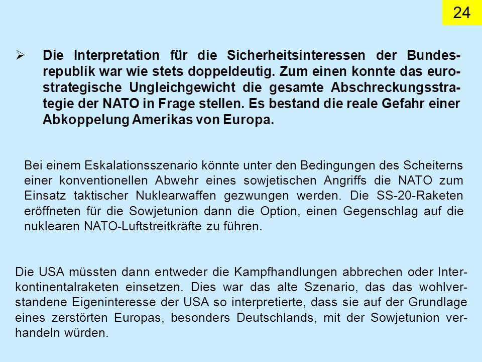 Die Interpretation für die Sicherheitsinteressen der Bundes-republik war wie stets doppeldeutig. Zum einen konnte das euro-strategische Ungleichgewicht die gesamte Abschreckungsstra-tegie der NATO in Frage stellen. Es bestand die reale Gefahr einer Abkoppelung Amerikas von Europa.