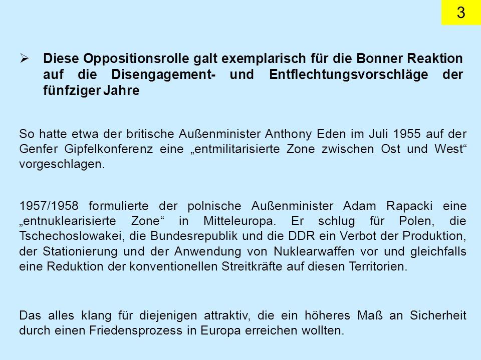 Diese Oppositionsrolle galt exemplarisch für die Bonner Reaktion auf die Disengagement- und Entflechtungsvorschläge der fünfziger Jahre