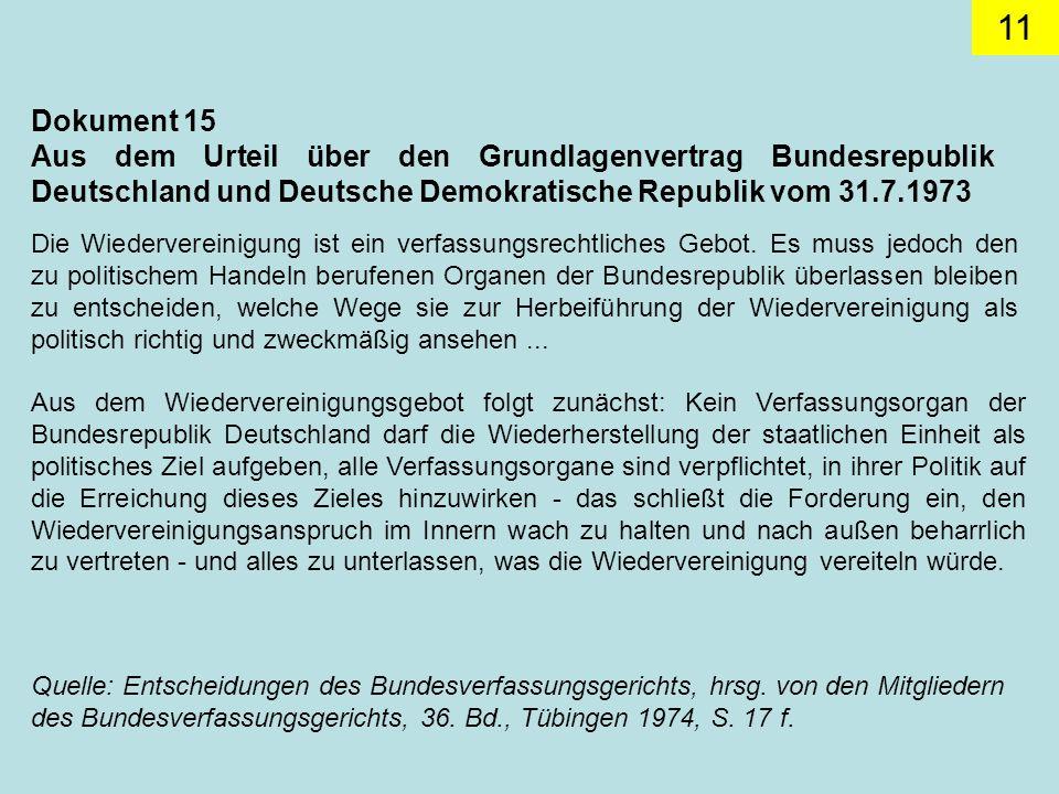 Dokument 15 Aus dem Urteil über den Grundlagenvertrag Bundesrepublik Deutschland und Deutsche Demokratische Republik vom 31.7.1973.