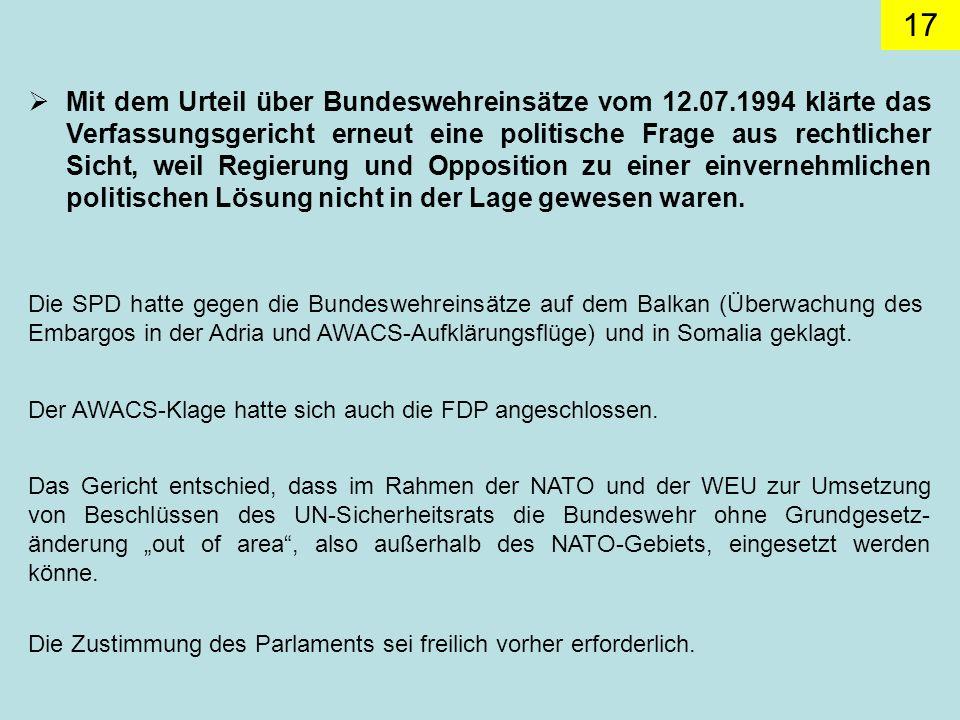 Mit dem Urteil über Bundeswehreinsätze vom 12. 07