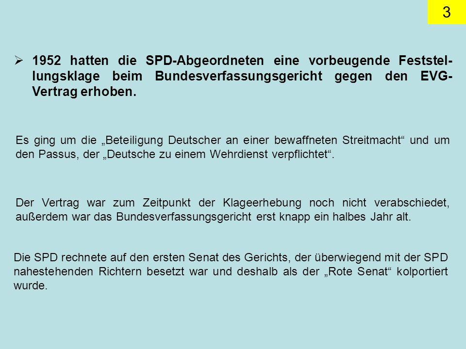 1952 hatten die SPD-Abgeordneten eine vorbeugende Feststel-lungsklage beim Bundesverfassungsgericht gegen den EVG-Vertrag erhoben.