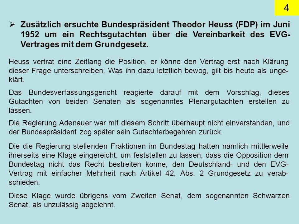 Zusätzlich ersuchte Bundespräsident Theodor Heuss (FDP) im Juni 1952 um ein Rechtsgutachten über die Vereinbarkeit des EVG-Vertrages mit dem Grundgesetz.