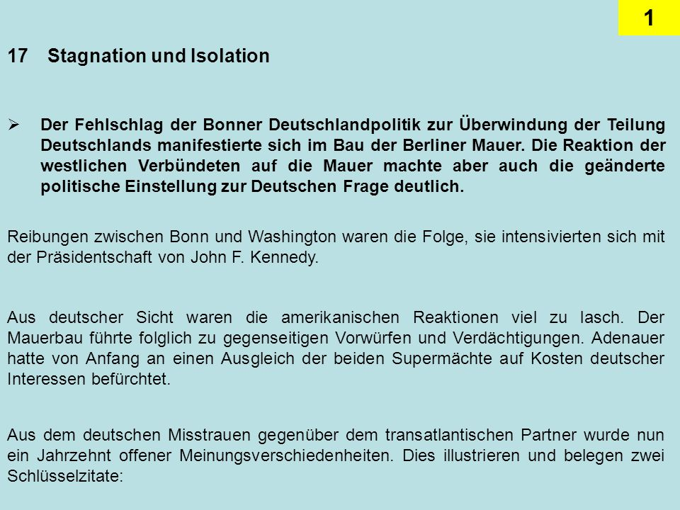 17 Stagnation und Isolation
