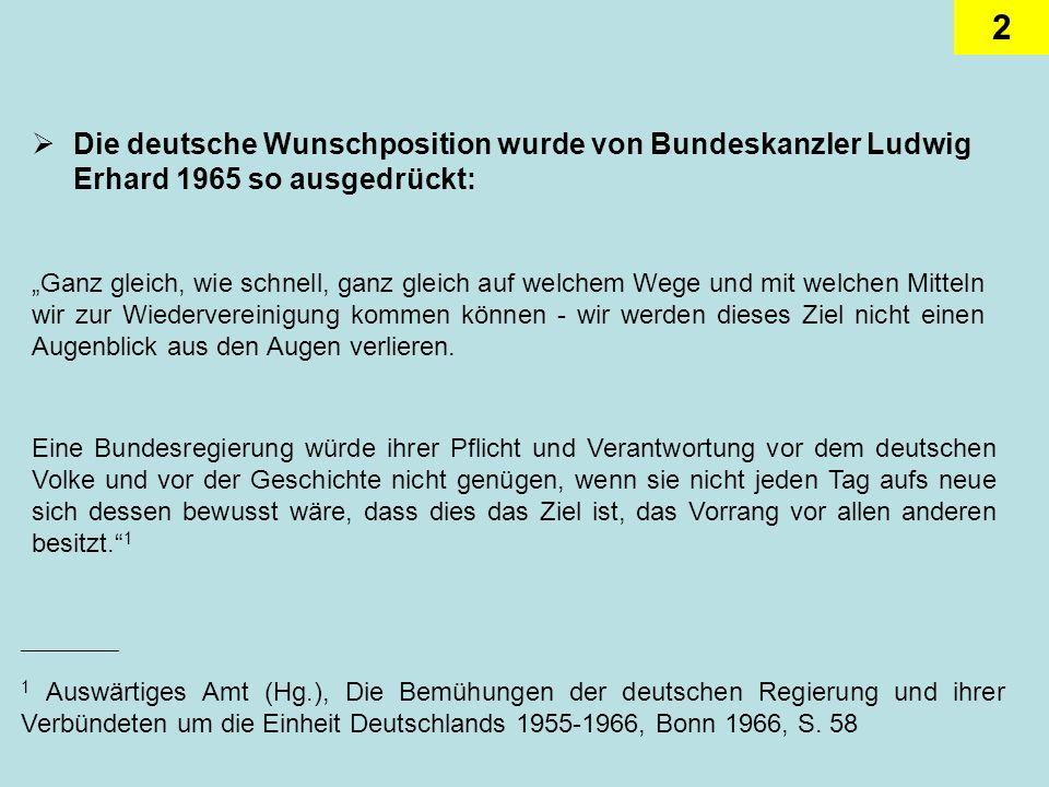 Die deutsche Wunschposition wurde von Bundeskanzler Ludwig Erhard 1965 so ausgedrückt:
