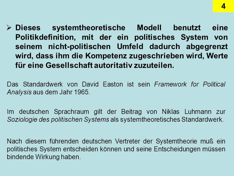 Dieses systemtheoretische Modell benutzt eine Politikdefinition, mit der ein politisches System von seinem nicht-politischen Umfeld dadurch abgegrenzt wird, dass ihm die Kompetenz zugeschrieben wird, Werte für eine Gesellschaft autoritativ zuzuteilen.