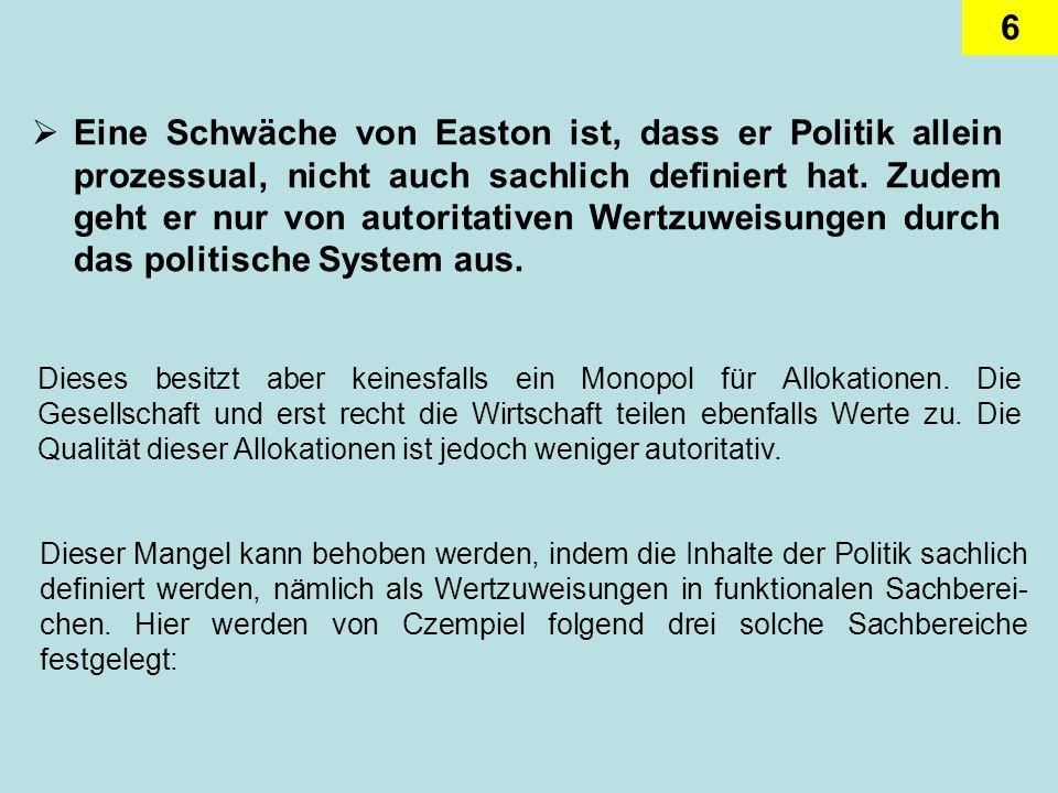 Eine Schwäche von Easton ist, dass er Politik allein prozessual, nicht auch sachlich definiert hat. Zudem geht er nur von autoritativen Wertzuweisungen durch das politische System aus.