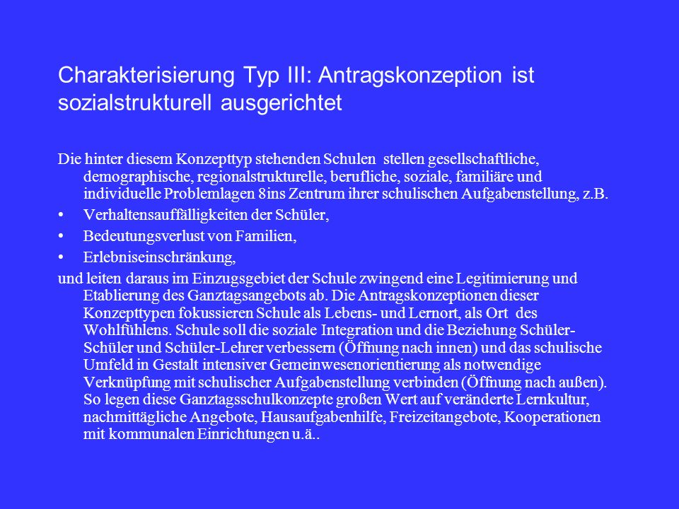 Charakterisierung Typ III: Antragskonzeption ist sozialstrukturell ausgerichtet