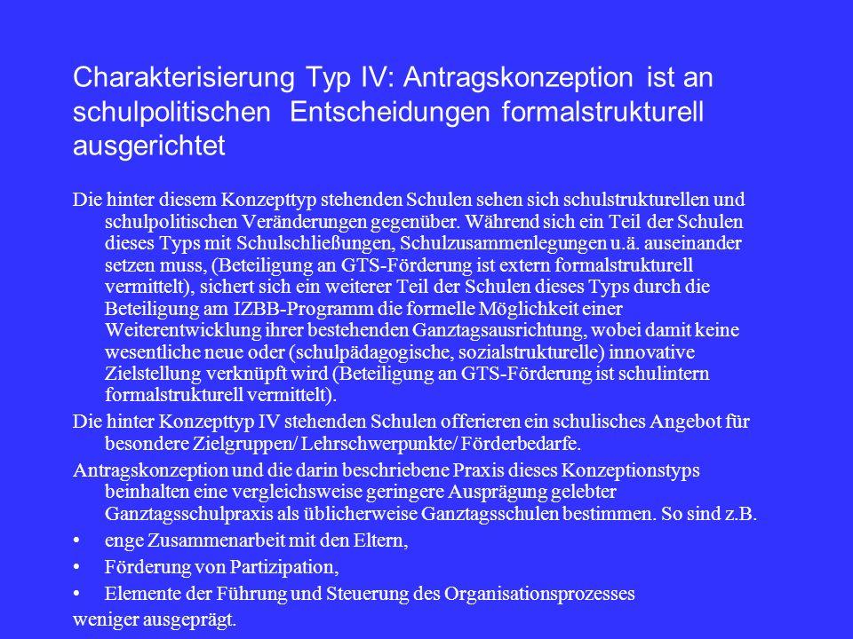 Charakterisierung Typ IV: Antragskonzeption ist an schulpolitischen Entscheidungen formalstrukturell ausgerichtet