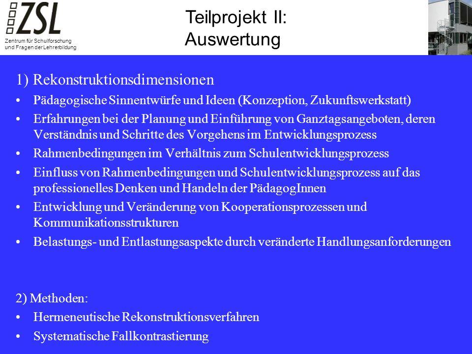 Teilprojekt III: Summative Evaluation Teilprojekt II: Auswertung