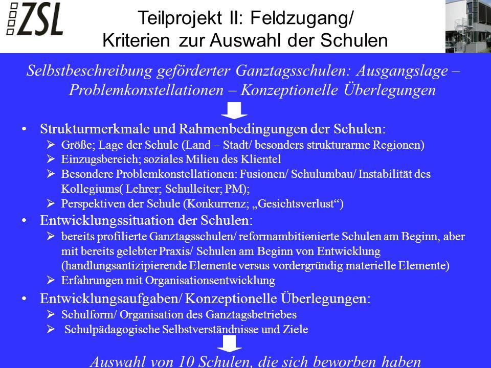 Teilprojekt II: Feldzugang/ Kriterien zur Auswahl der Schulen