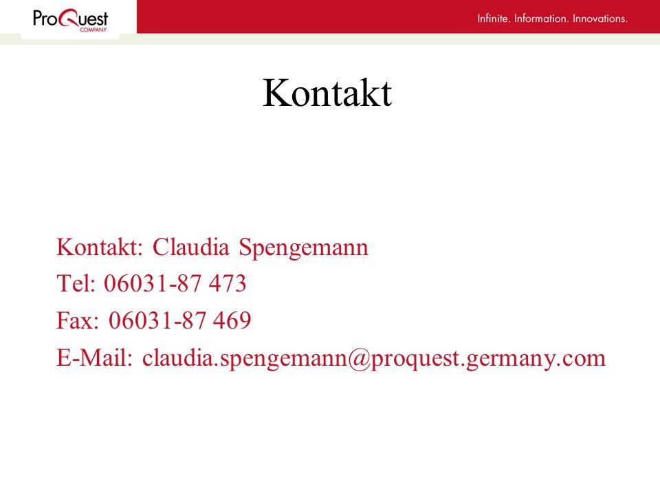 Kontakt Kontakt: Claudia Spengemann Tel: 06031-87 473