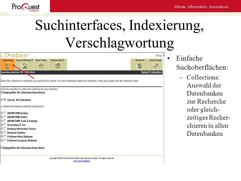 Suchinterfaces, Indexierung, Verschlagwortung