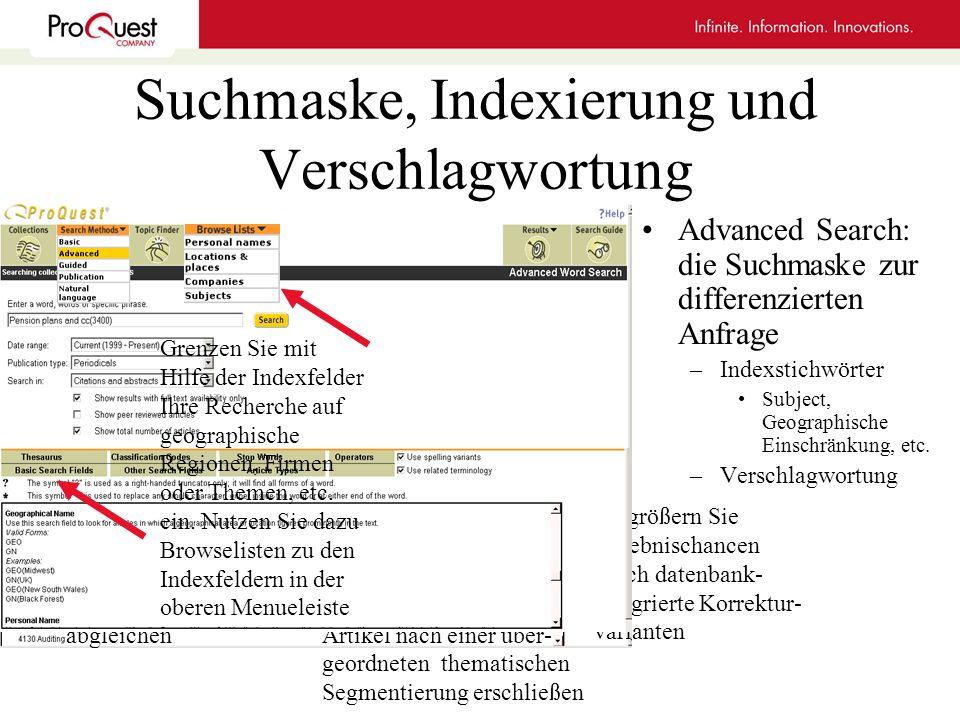 Suchmaske, Indexierung und Verschlagwortung