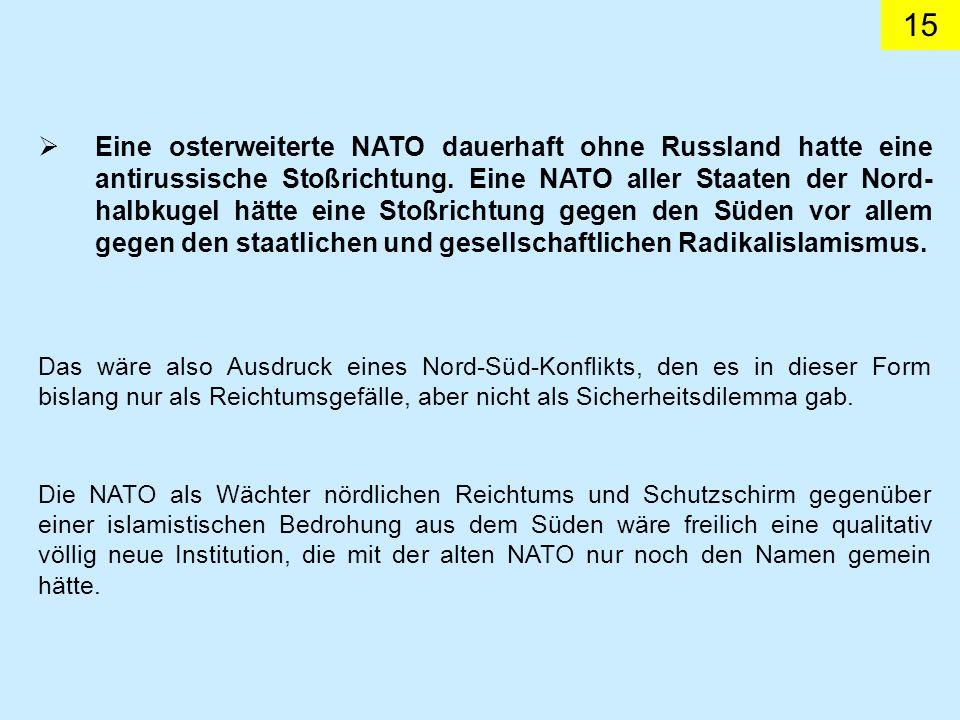 Eine osterweiterte NATO dauerhaft ohne Russland hatte eine antirussische Stoßrichtung. Eine NATO aller Staaten der Nord-halbkugel hätte eine Stoßrichtung gegen den Süden vor allem gegen den staatlichen und gesellschaftlichen Radikalislamismus.