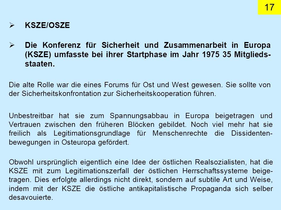KSZE/OSZE Die Konferenz für Sicherheit und Zusammenarbeit in Europa (KSZE) umfasste bei ihrer Startphase im Jahr 1975 35 Mitglieds-staaten.