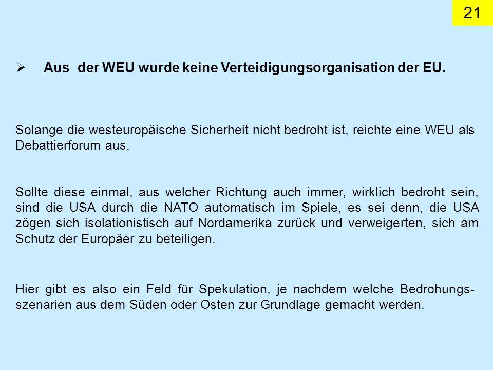 Aus der WEU wurde keine Verteidigungsorganisation der EU.