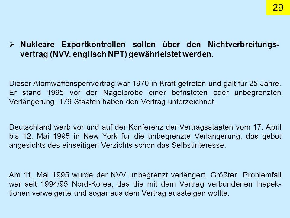Nukleare Exportkontrollen sollen über den Nichtverbreitungs-vertrag (NVV, englisch NPT) gewährleistet werden.