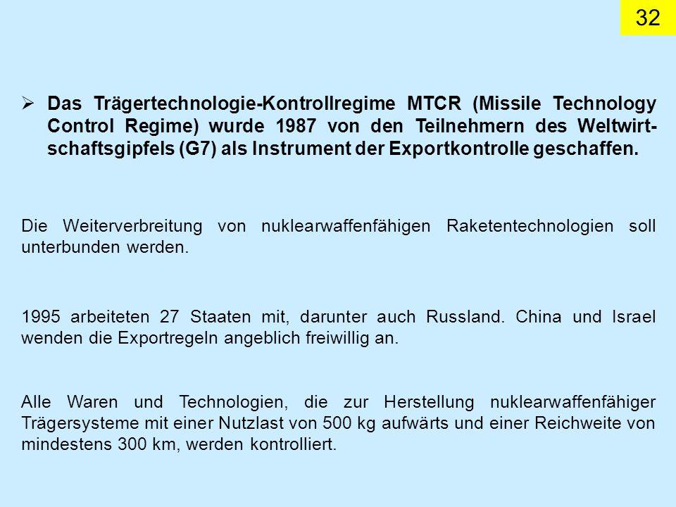 Das Trägertechnologie-Kontrollregime MTCR (Missile Technology Control Regime) wurde 1987 von den Teilnehmern des Weltwirt-schaftsgipfels (G7) als Instrument der Exportkontrolle geschaffen.