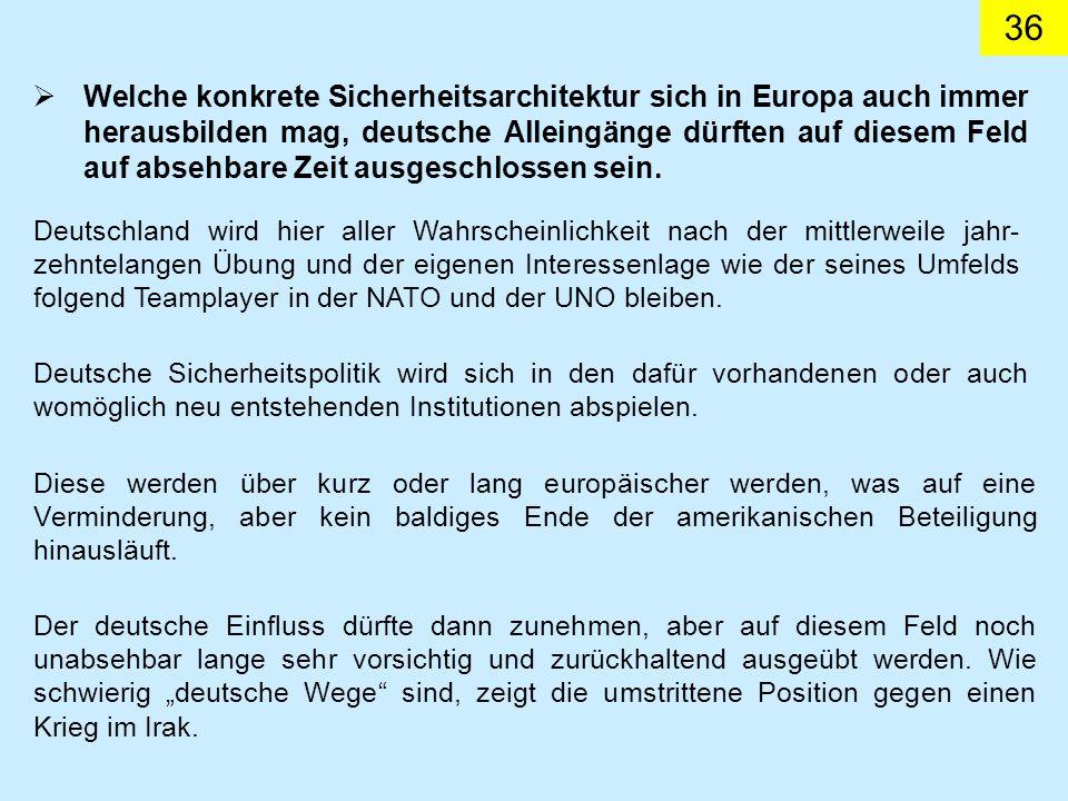 Welche konkrete Sicherheitsarchitektur sich in Europa auch immer herausbilden mag, deutsche Alleingänge dürften auf diesem Feld auf absehbare Zeit ausgeschlossen sein.