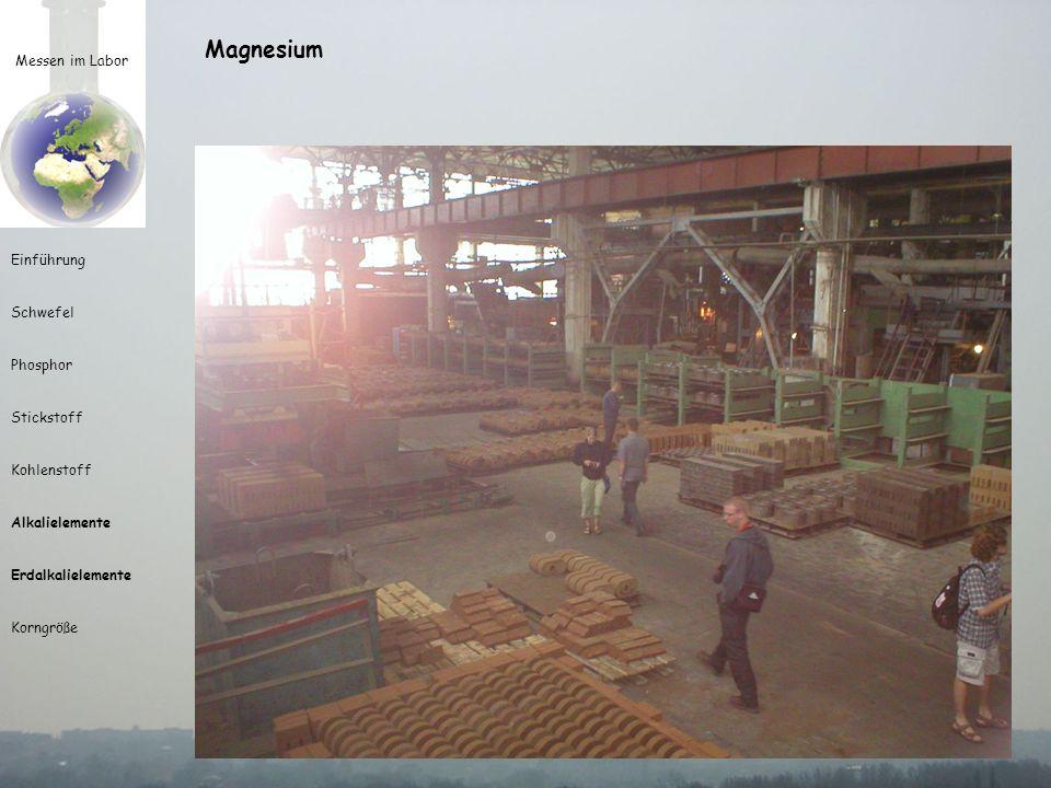 Magnesium Messen im Labor. Herkunft des Namens umstritten, Stadt in Türkei oder Landschaft in Griechenland
