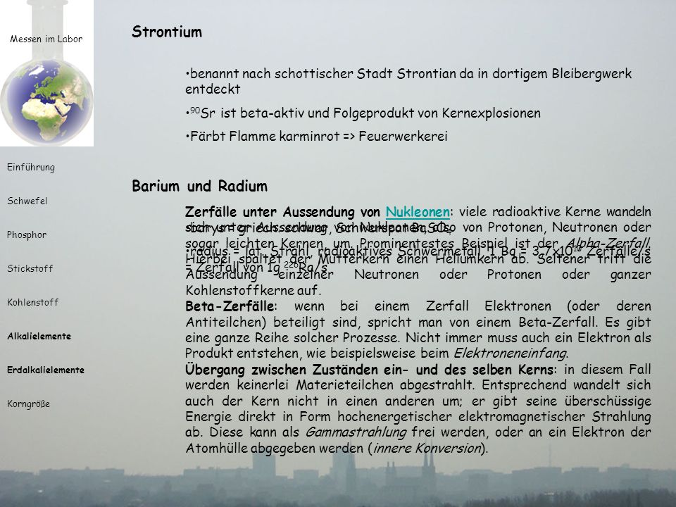 Strontium Barium und Radium