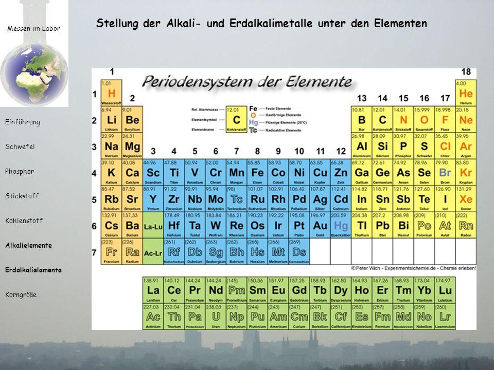 Stellung der Alkali- und Erdalkalimetalle unter den Elementen