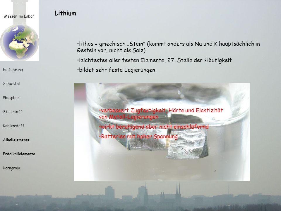 """Lithium Messen im Labor. lithos = griechisch """"Stein (kommt anders als Na und K hauptsächlich in Gestein vor, nicht als Salz)"""