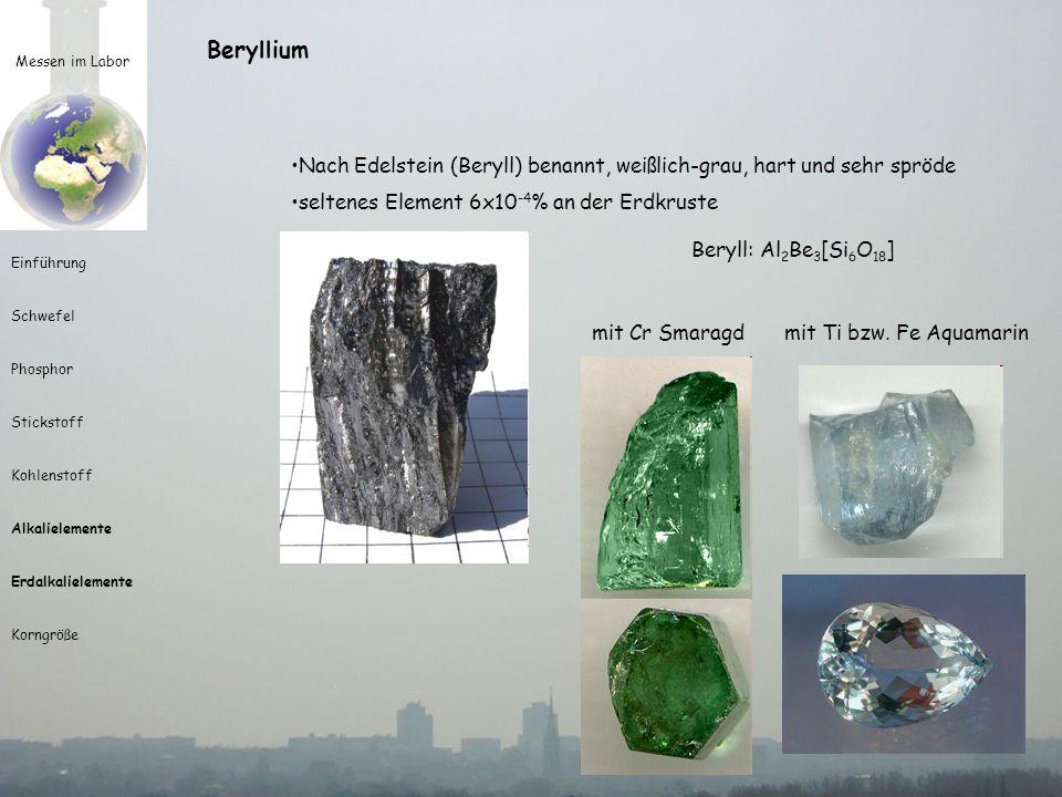 Beryllium Messen im Labor. Nach Edelstein (Beryll) benannt, weißlich-grau, hart und sehr spröde. seltenes Element 6x10-4% an der Erdkruste.