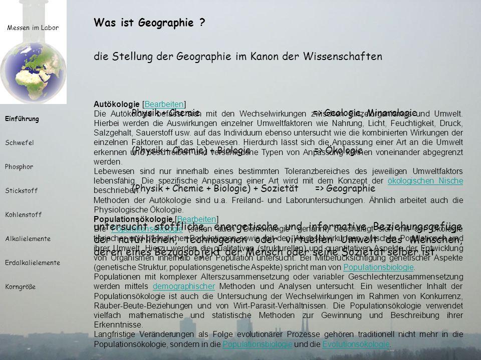 die Stellung der Geographie im Kanon der Wissenschaften