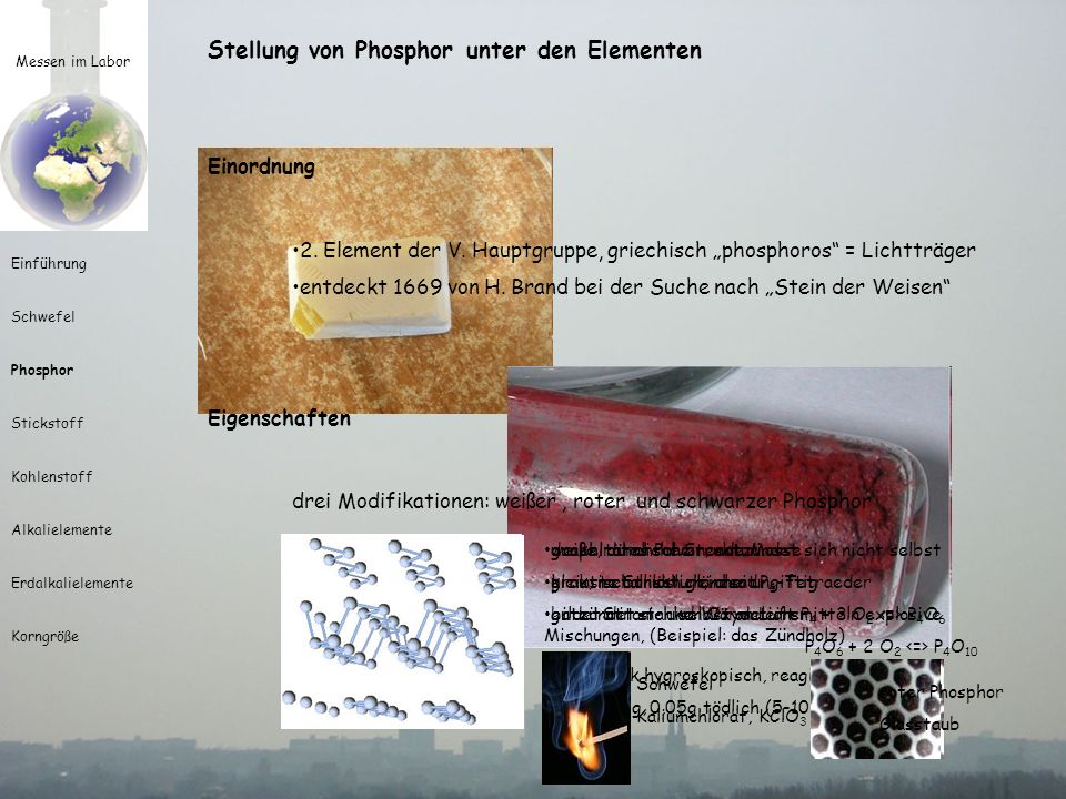 Stellung von Phosphor unter den Elementen
