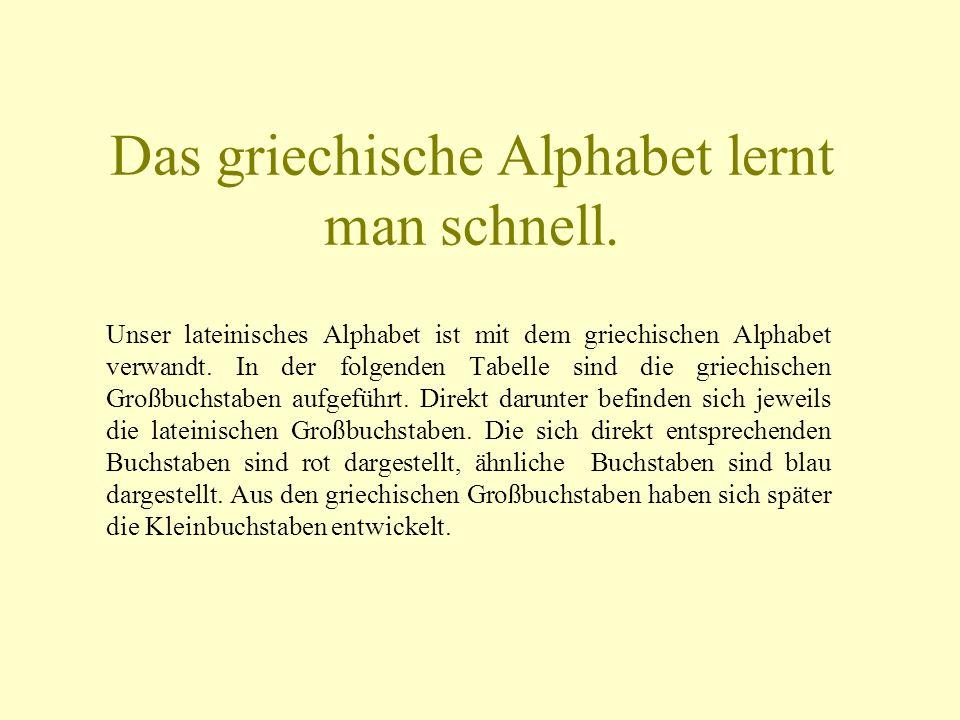Das griechische Alphabet lernt man schnell.