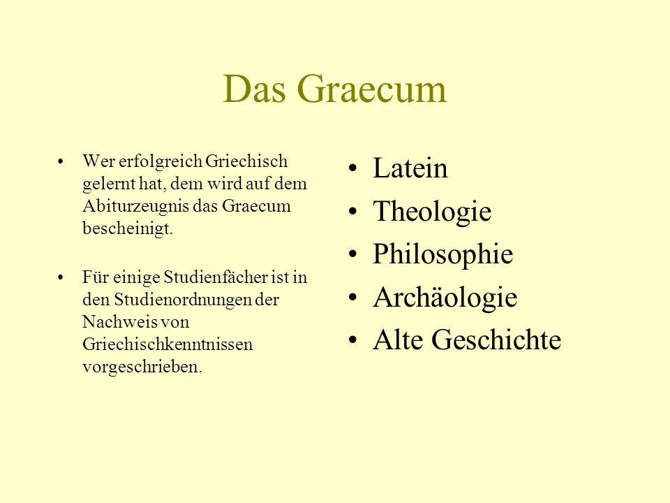 Das Graecum Latein Theologie Philosophie Archäologie Alte Geschichte