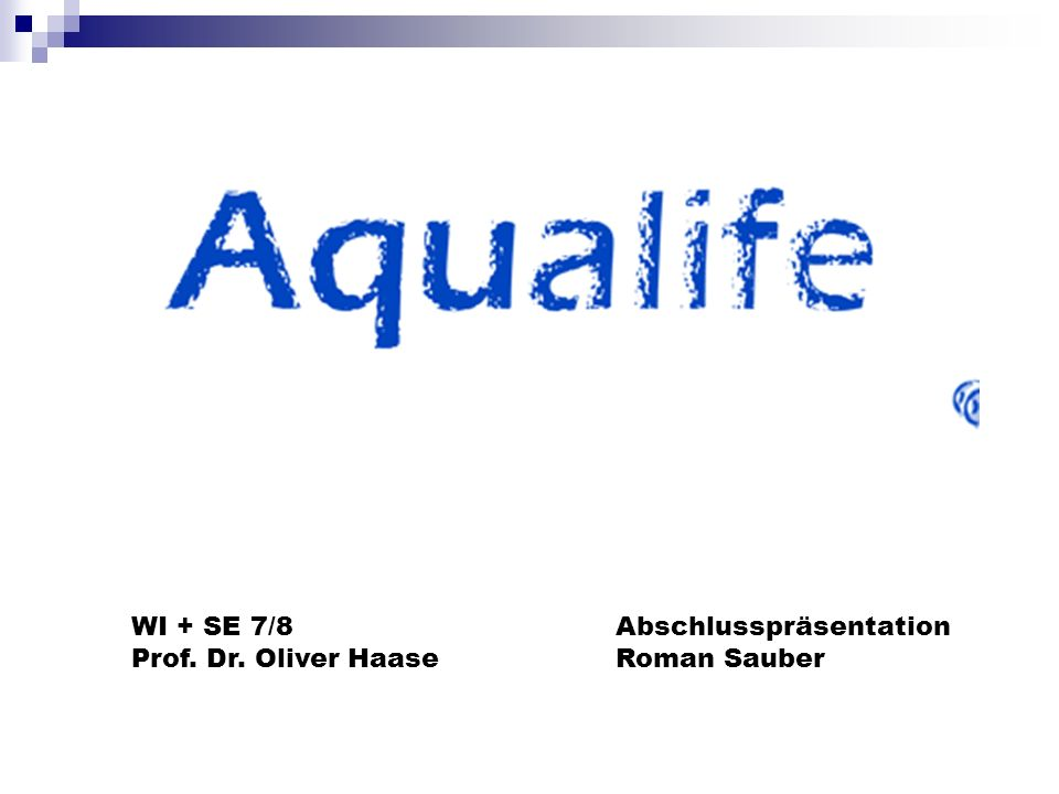 WI + SE 7/8 Prof. Dr. Oliver Haase Abschlusspräsentation Roman Sauber