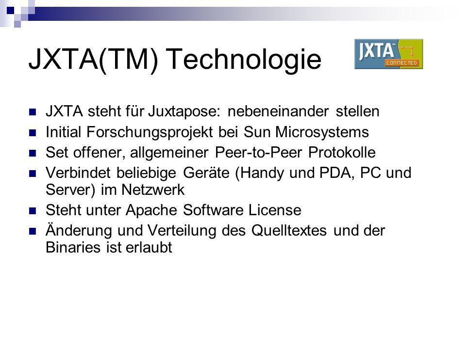 JXTA(TM) Technologie JXTA steht für Juxtapose: nebeneinander stellen