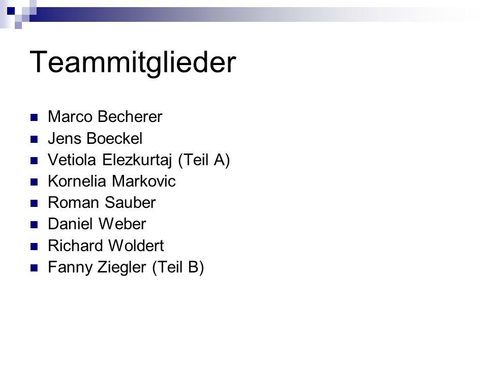 Teammitglieder Marco Becherer Jens Boeckel Vetiola Elezkurtaj (Teil A)