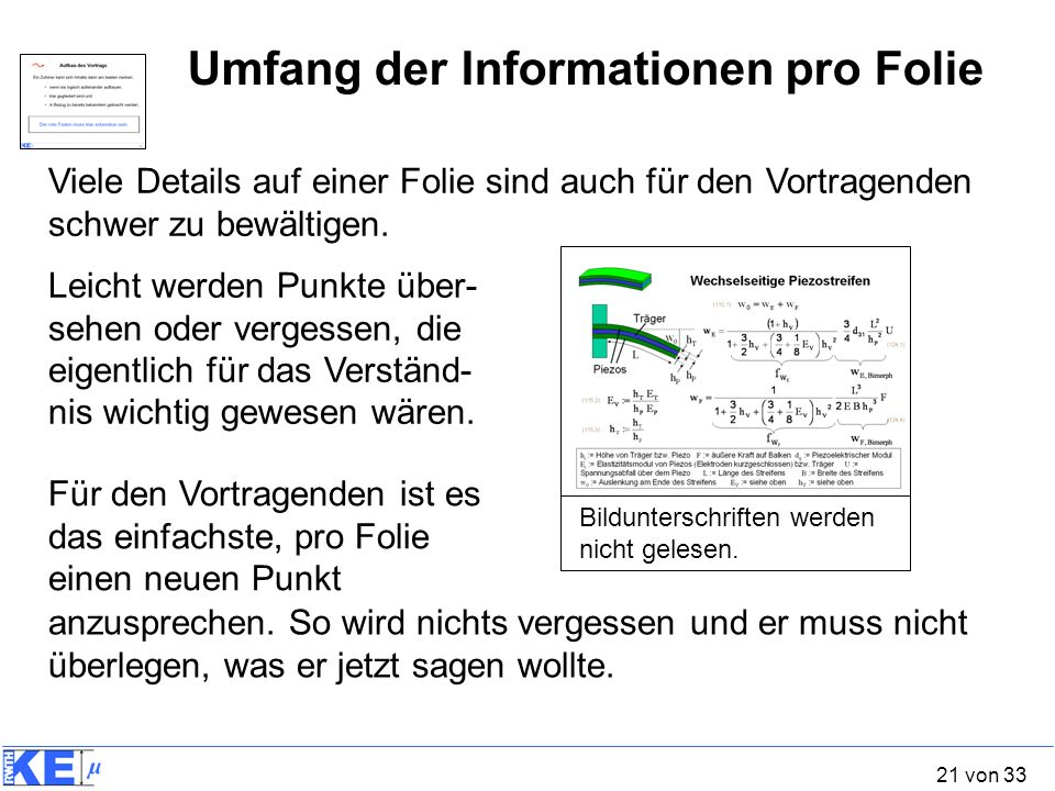 Umfang der Informationen pro Folie