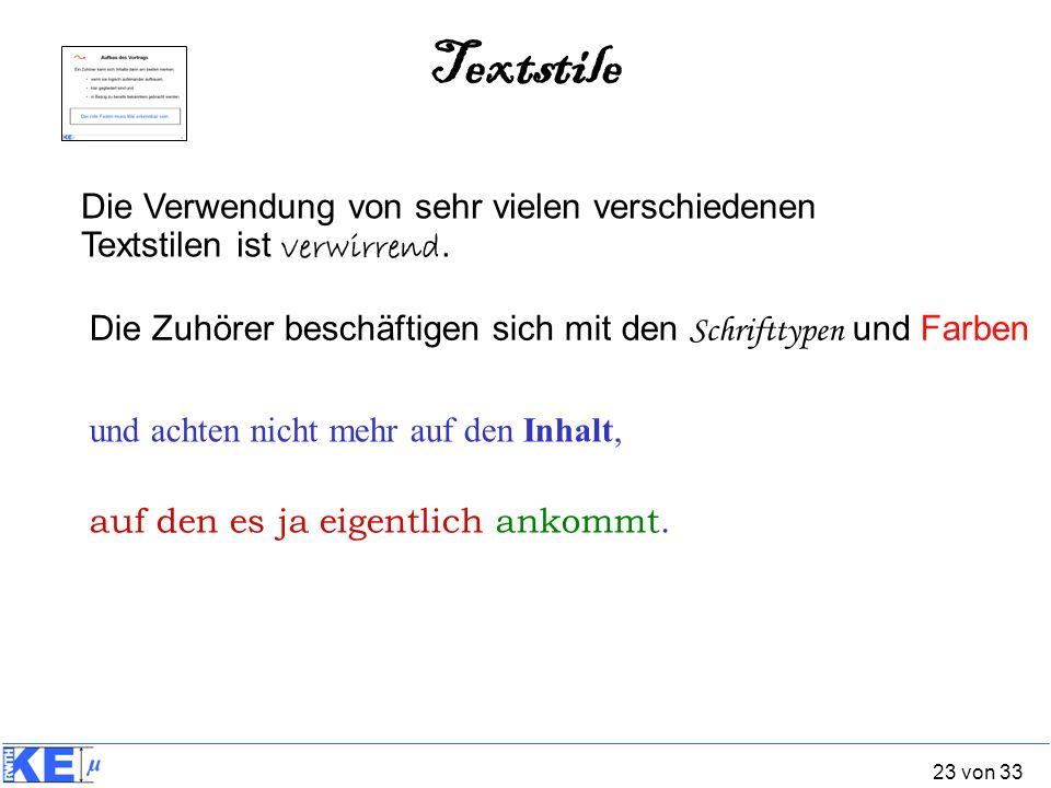 Textstile Die Verwendung von sehr vielen verschiedenen Textstilen ist verwirrend. Die Zuhörer beschäftigen sich mit den Schrifttypen und Farben.