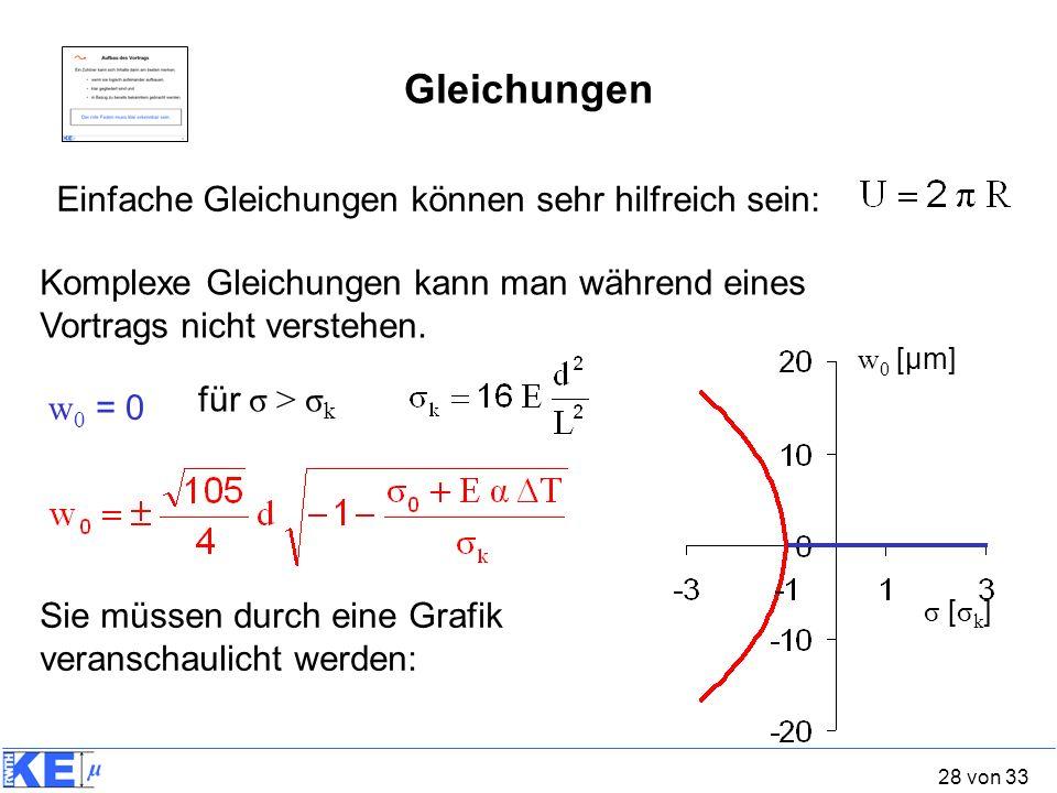 Gleichungen Einfache Gleichungen können sehr hilfreich sein: